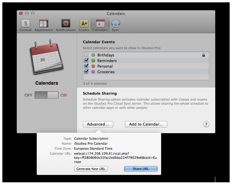 iStudiez Pro – Calendar Integration
